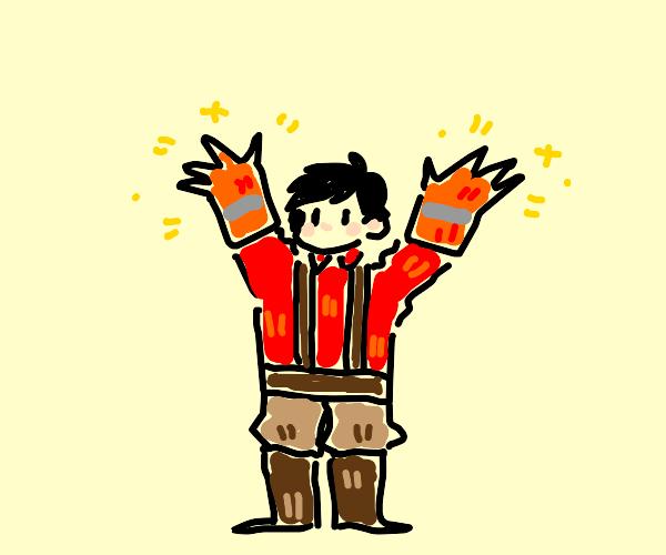 Firefighter wearing Gloves