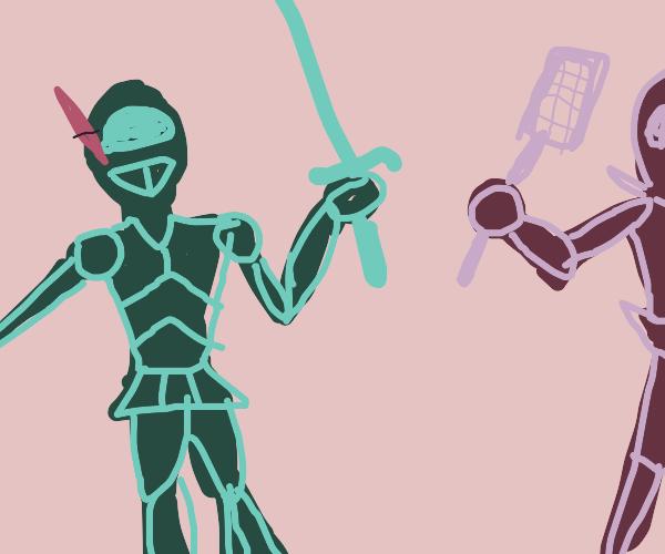 Knight vs. Flyswat Man