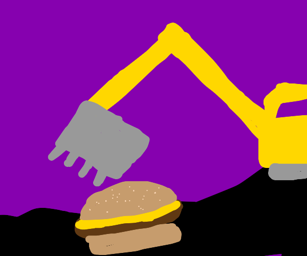 Using a crane to pick up a giant burger