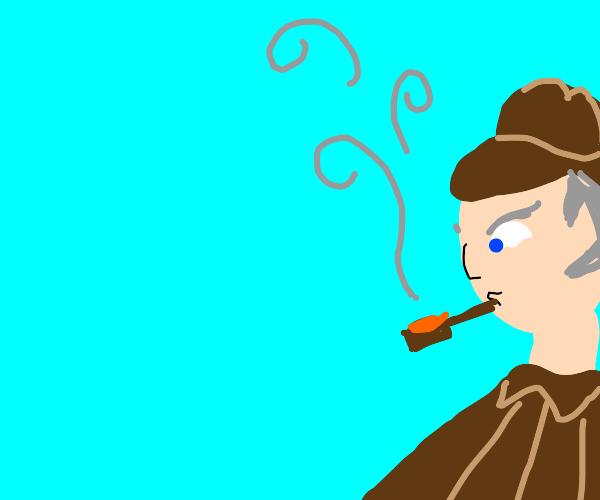 detective smoking his pipe