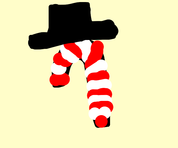 Candy Cane wearing a Top Hat