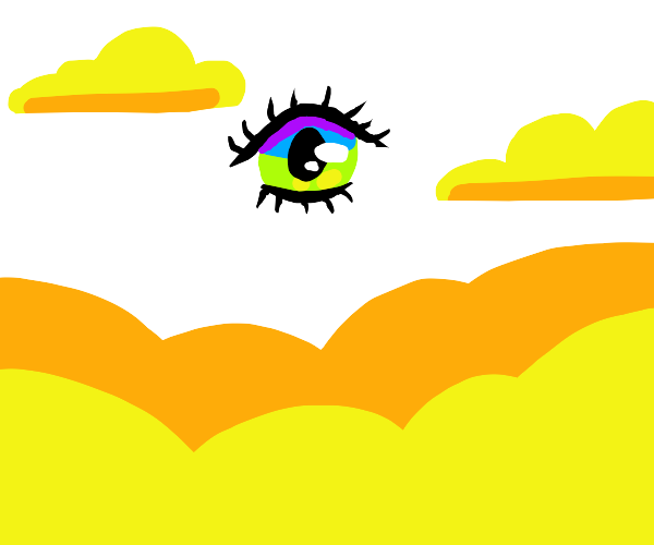 ominous eye above clouds with yellow stuff