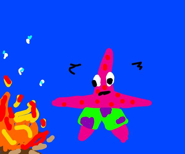 Patrick hopes fire doesnt notice him