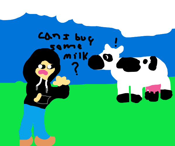 Person buys milk from a cow