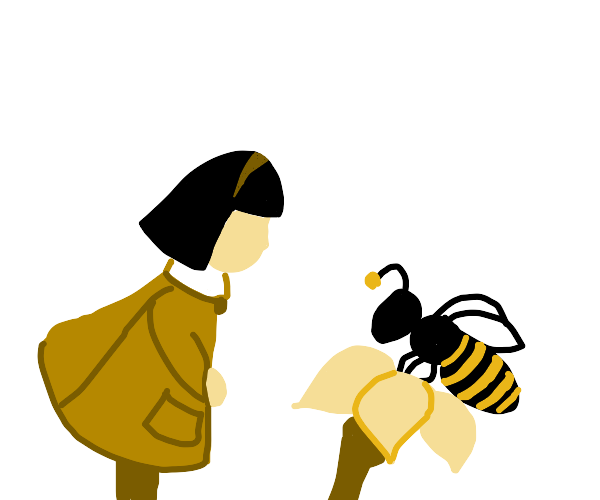 Girl looks at a bee