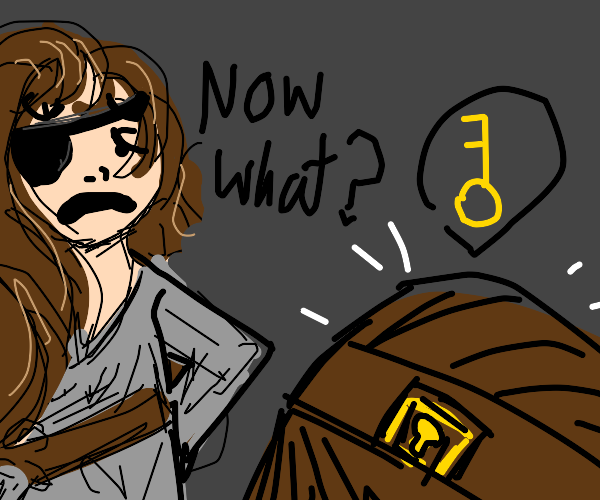 Pirate disappointed by locked treasure chest