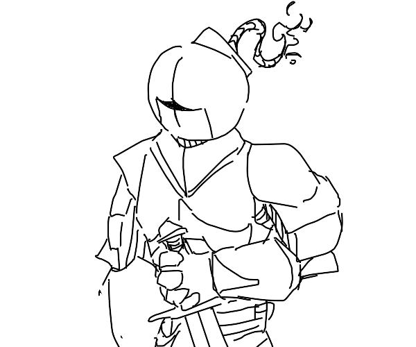 black knight with bomb-shape head with a fuse