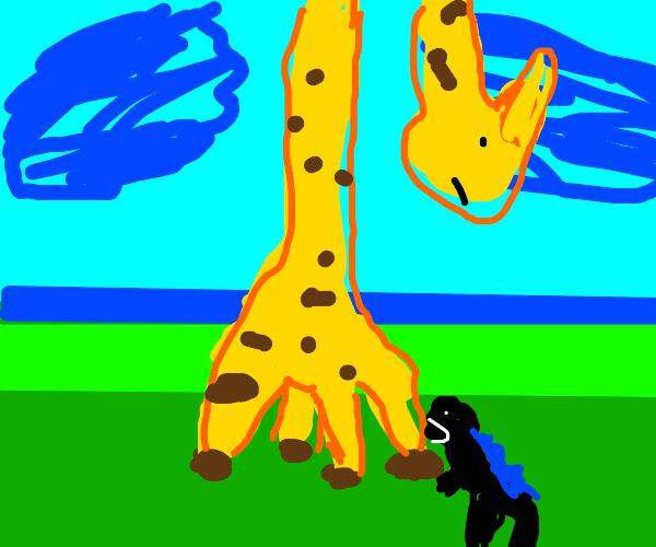 Smol Godzilla biting beeg Giraffe