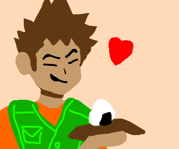 Brock from Pokémon loves onigiri