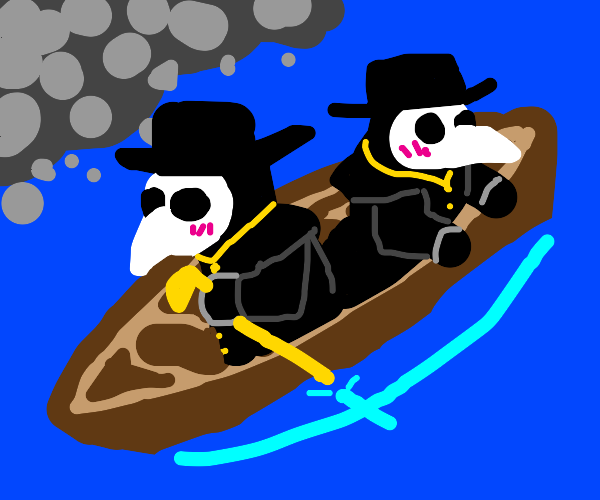 plague doctors row in a boat ride :)