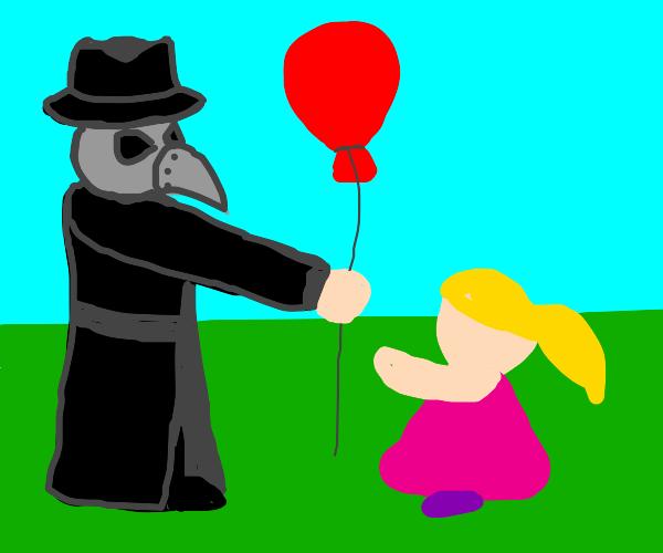 Plague Doctor handing out balloons