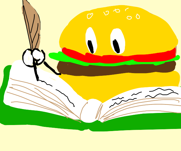 Burger writing in a book