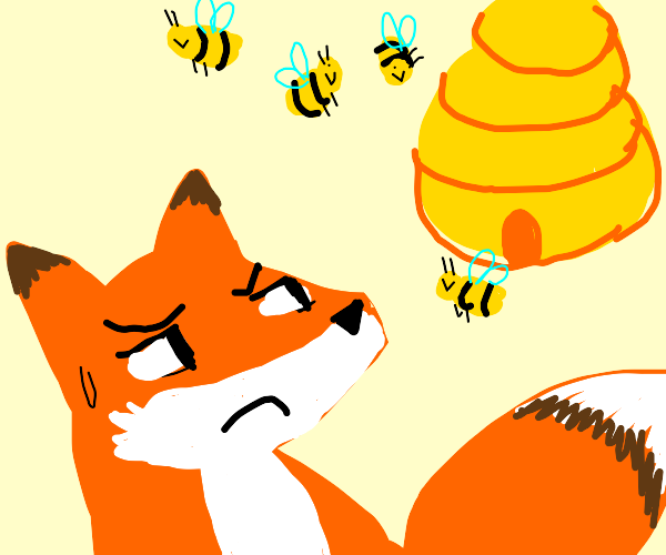 Fox is wary of beehive