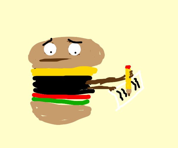 sad burger writing a letter
