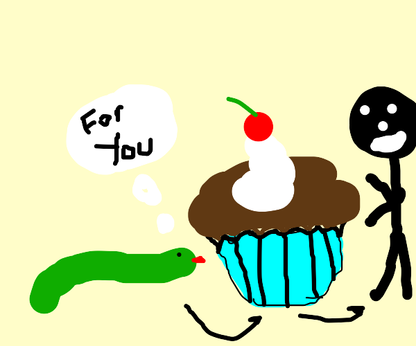 snake wants to give you a cupcake