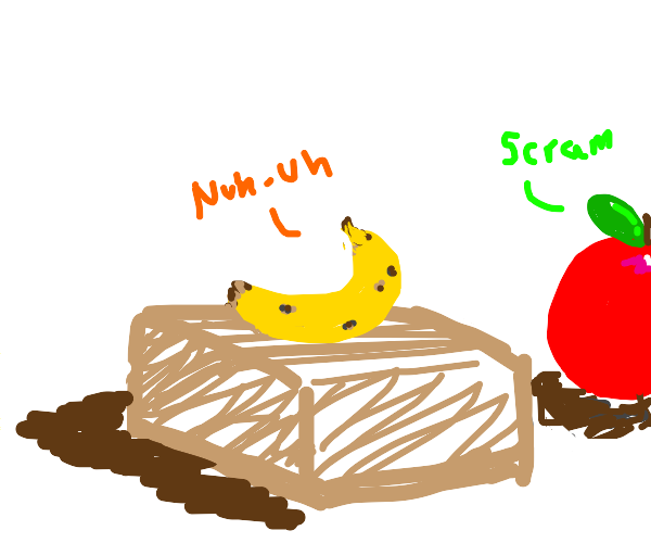 Banana refuses to get off a box