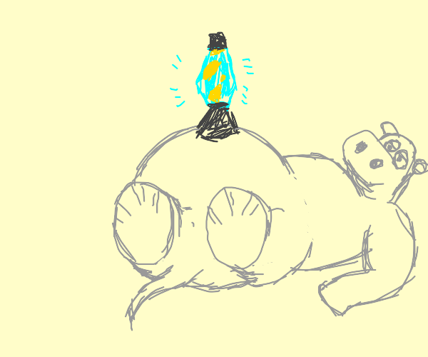 Hippo with a lava lamp