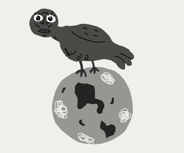 Giant brown bird stands on a beige planet