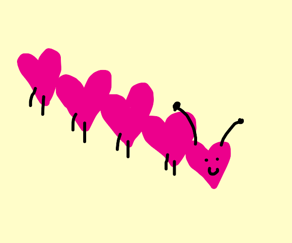 Caterpillar made of hearts