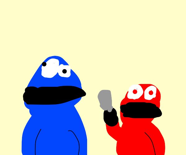 cookie monster approached by vicious elmo