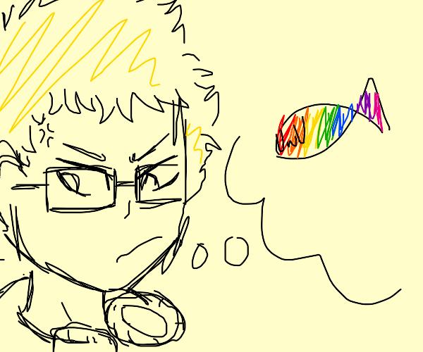 mad TSUKKI thinking about a rainbow fish UwU
