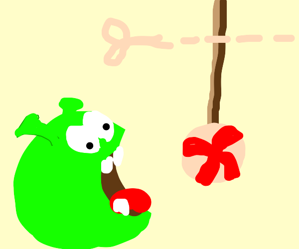 shrek but he's the monster from cut the rope