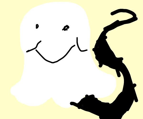 Happy ghost has a long skinny shadow