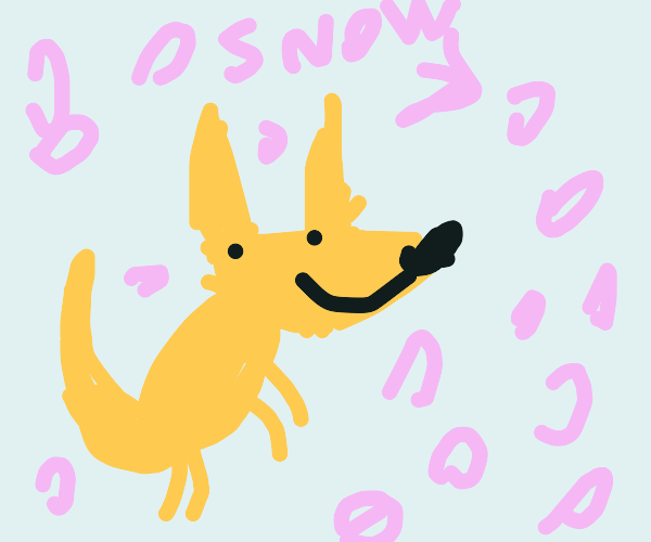 Happy fox in the snow