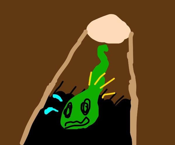 snake falling into dark hole