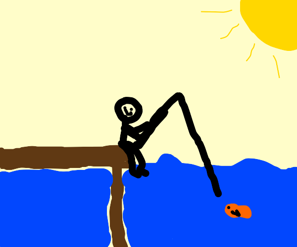 Man fishing on a sunny day