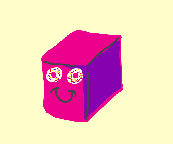 pink box with a face and donut eyes