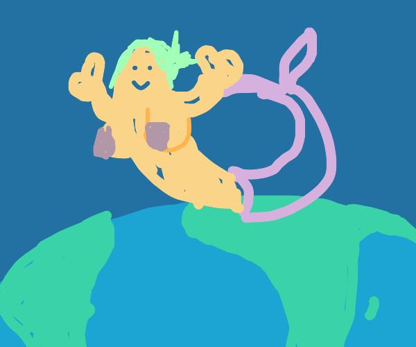 mermaid sitting ontop of earth