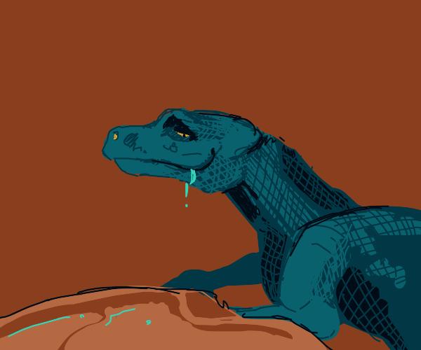 Little Dinosaur looking at Tasty Meats.