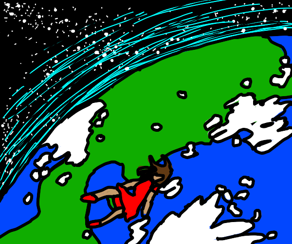 Woman In Red Dress Falling To Earth