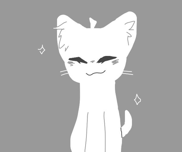 cute white cat/dog thing smiling