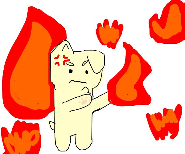angry doggo with fire powers