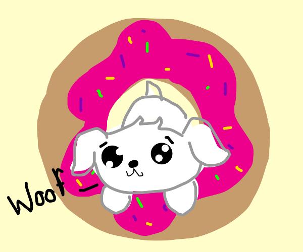 A sprinkle donut woofs.