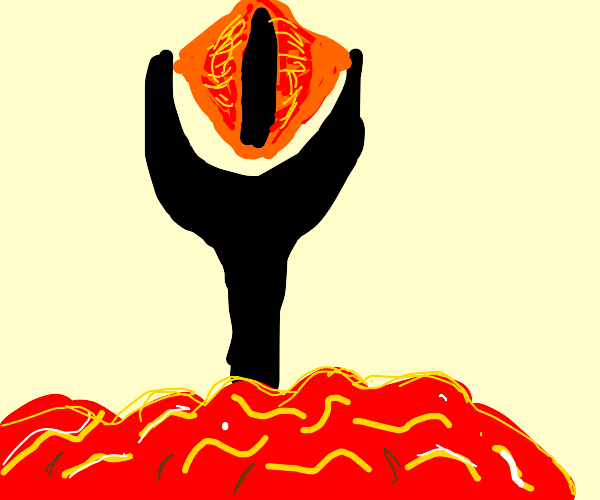 Eye of Sauron; so much lava. He's effed