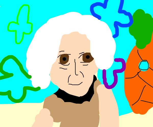 Old lady with pink hair in Bikini Bottom
