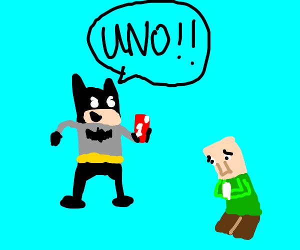 Batman wins uno against mc villager