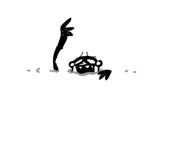 man drowning in a white void