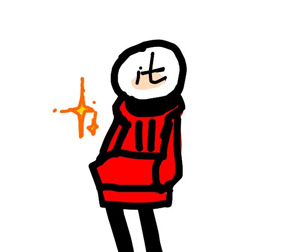 It is wearing a hoodie