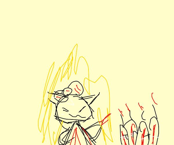 Super Saiyan Kitty activates TNT