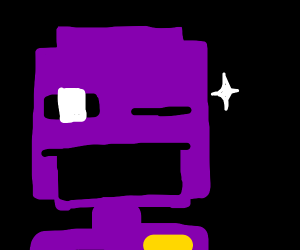 Purple guy winks as a star exits his eye
