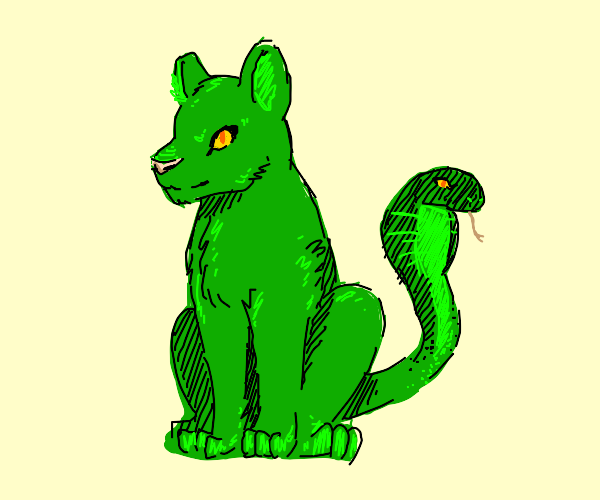 green cat with a snake for a tail