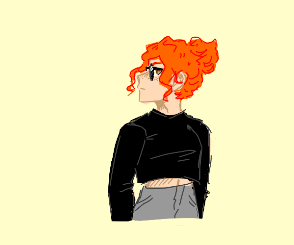 Ginger in a crop top and shades