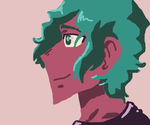 A pink anime boy with a sharp chin.