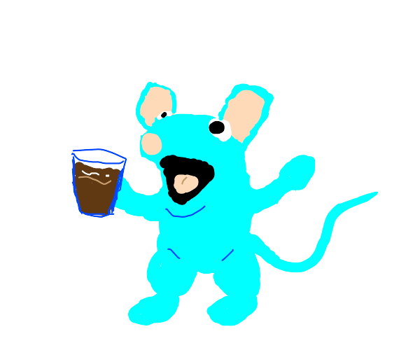 Blue Mouse Drinking Chocolate Milk