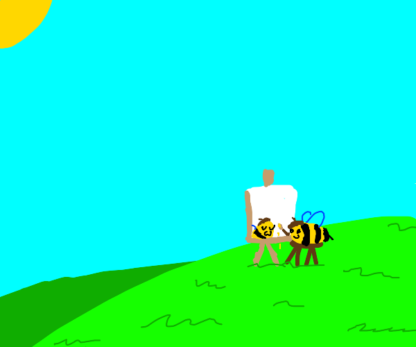 A bee paints a self portrait on grassy hill