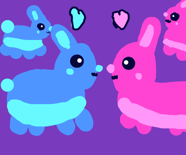 Blue and pink rabbits in love